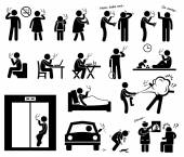 Smokers Smoking Stick Figure Pictogram Icons — 图库矢量图片