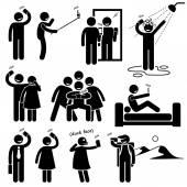Selfie Stick Figure Pictogram Icons — Stock Vector
