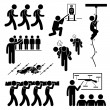 ������, ������: Soldier Military Training Workout National Duty Services Stick Figure Pictogram Icons
