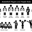 Basketball Players Team Stick Figure Pictogram Icons — Stock Vector #54773739