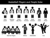 Basketball Players Team Stick Figure Pictogram Icons — Stock Vector