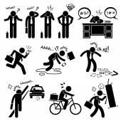 Fail Businessman Emotion Feeling Action Stick Figure Pictogram Icons — Stock Vector