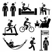 Man Listening to Music with Earphone Headphone Stick Figure Pictogram Icons — Stock Vector