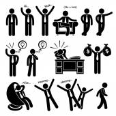 Successful Happy Businessman Poses Stick Figure Pictogram Icons — Stock Vector