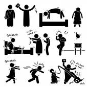 Exorcist Exorcism Evil Demon Spirit Ritual Stick Figure Pictogram Icon — Stok Vektör