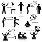 Psychic Power Sixth Sense Stick Figure Pictogram Icon — Vector de stock