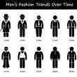 Man Fashion Trend Timeline Clothing Wear Style Evolution by Year Stick Figure Pictogram Icons — Stock Vector #56381983