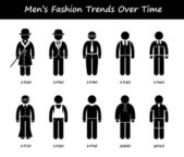 Man Fashion Trend Timeline Clothing Wear Style Evolution by Year Stick Figure Pictogram Icons — Stock vektor