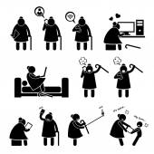 High Tech Granny Elderly Old Woman Using Computer and Smartphone Stick Figure Pictogram Icons — Stock Vector