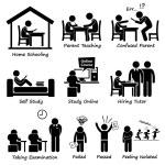 Homeschooling Home School Education Stick Figure Pictogram Icons — Stock Vector #57119535