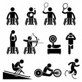 Disable Handicap Sport Paralympic Games Stick Figure Pictogram Icons — Vettoriale Stock