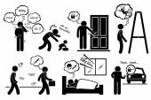 Paranoid Paranoia People Too Worry Stick Figure Pictogram Icons — Stock Vector