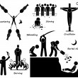 Execution Death Penalty Capital Punishment Ancient Methods Stick Figure Pictogram Icons — Stock Vector #57626857