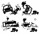 Disaster Accident Tragedy of Car Motorcycle Collision, Bus Crash, and Helicopter Mishap Stick Figure Pictogram Icons — Stock Vector