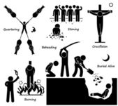 Execution Death Penalty Capital Punishment Ancient Methods Stick Figure Pictogram Icons — Stock Vector