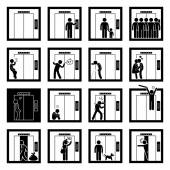 Things that People do inside Elevator Lift Stick Figure Pictogram Icons — Stock Vector