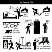 In Case of Fire Emergency Plan Stick Figure Pictogram Icons — Stock Vector