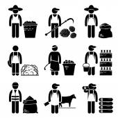 Commodities Food Agricultural Grains Meat Stick Figure Pictogram Icons — Stock Vector