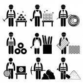 Commodities Precious Industrial Metal Stick Figure Pictogram Icons — Vector de stock