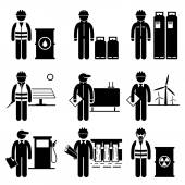 Commodities Energy Fuel Power Stick Figure Pictogram Icons — Stock vektor