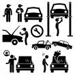 Car Repair Services Workshop Mechanic Stick Figure Pictogram Icons — Stock Vector #62320141