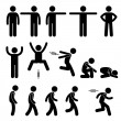 Human Action Poses Postures Stick Figure Pictogram Icons — Stock Vector #62320143