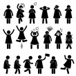 Human Female Girl Woman Action Poses Postures Stick Figure Pictogram Icons — Stock Vector #62320153