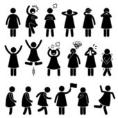Human Female Girl Woman Action Poses Postures Stick Figure Pictogram Icons — Stock Vector