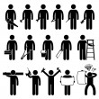 Handyman Worker using DIY work tools Stick Figure Pictogram Icons — Stock Vector #62395789
