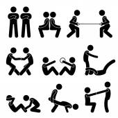 Exercise Workout with a Partner Stick Figure Pictogram Icons — Stock Vector