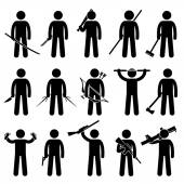 Man Holding and Using Weapons Stick Figure Pictogram Icons — Stock Vector