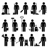 Cleaner Man with Cleaning Tools and Equipments Stick Figure Pictogram Icons — Stock Vector