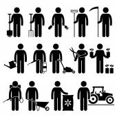 Gardener Man Worker using Gardening Tools and Equipments Stick Figure Pictogram Icons — Stock Vector