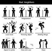 Bad Neighbors Stick Figure Pictogram Icons — Vetorial Stock