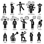 Businessman Attitude Personalities Characters Stick Figure Pictogram Icons — Stok Vektör