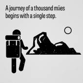 A journey to a thousand miles begins with a single step — Vetor de Stock