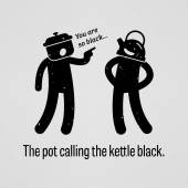 The pot calling the kettle black — Stock Vector