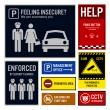 Car Park Safety and Security Signs Signboards — Stock Vector #66884887