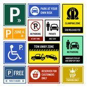 Car Park Parking Signs Signboards — Stock Vector