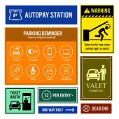 Car Park Reminder and Information Signs Signboards — Stockvektor
