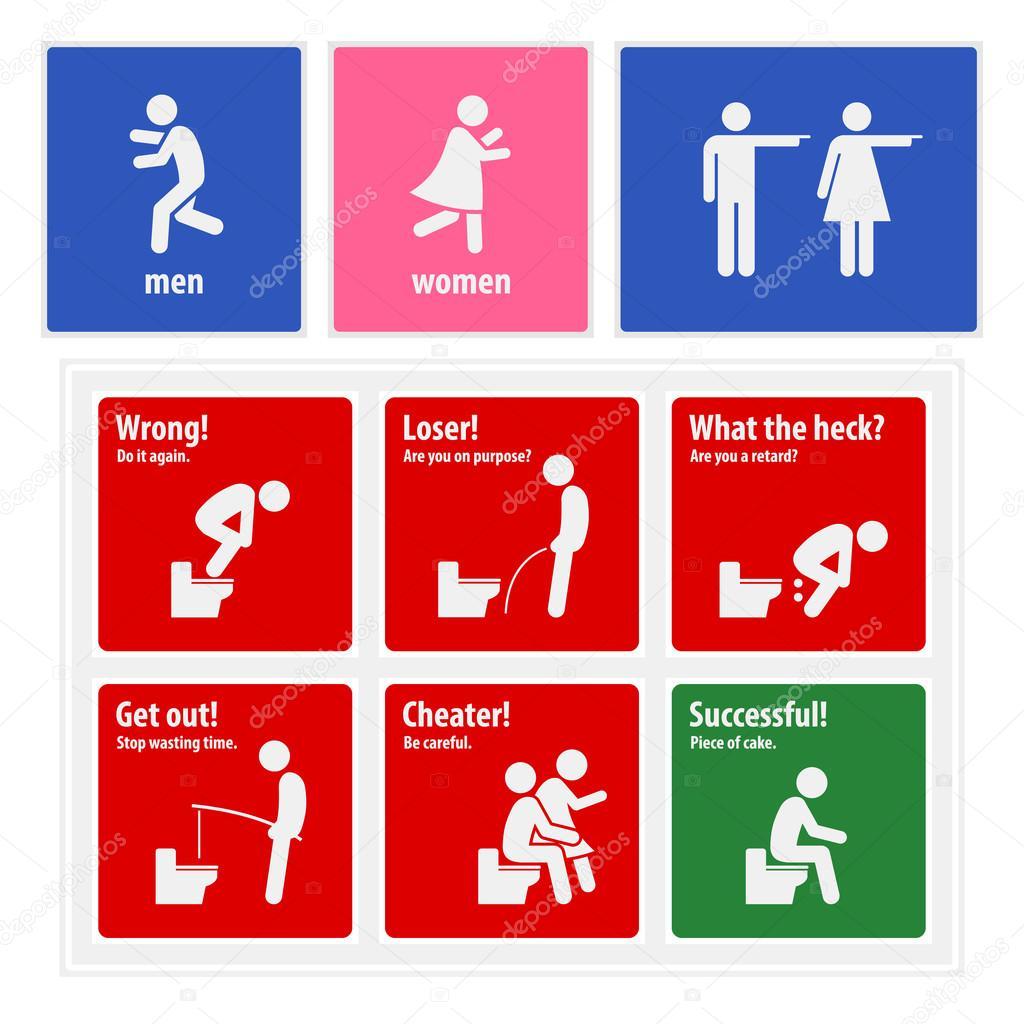 WC assina criativas placas — Vetores de Stock © leremy #67067087 #9E0101 1024x1024 Aviso Para Banheiro Interditado
