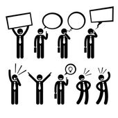 Businessman Business Man Talking Thinking Shouting Holding Placard Stick Figure Pictogram Icon — Vettoriale Stock