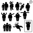Fat Man Action Poses Postures Stick Figure Pictogram Icons — Stock Vector #68763719