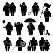 Fat Man Holding Using Various Objects Stick Figure Pictogram Icons — Stock Vector #68763721