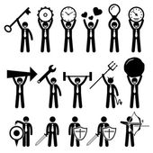 Business Man Businessman Using Various Objects Stick Figure Pictogram Icons — Stock Vector