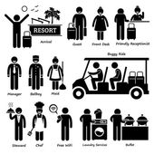 Resort Villa Hotel Tourist Worker and Services Stick Figure Pictogram Icons — Stock Vector