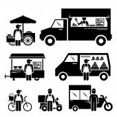 Mobile Food Vehicles Lorry Truck Van Wagon Bicycle Bike Cart Stick Figure Pictogram Icons — Stock Vector