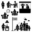 Mother Woman Breastfeeding Baby Stick Figure Pictogram Icons — Stock Vector #70176809