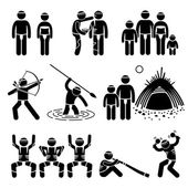 Tribe Native Indigenous Aboriginal People Culture and Tradition Stick Figure Pictogram Icons — Stock Vector