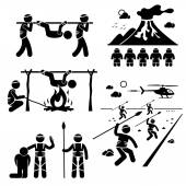 Lost Civilization Cannibal Man Eating Tribe Stick Figure Pictogram Icons — Vector de stock